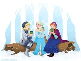 Hot Chocolate with Frozen ladies by laurbits