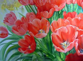 Red tulips by karincharlotte