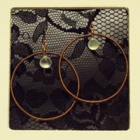 Prehenite and Copper Hoops by ACrowsCollection