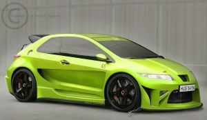 Honda Civic - Toxic Green by hussain1