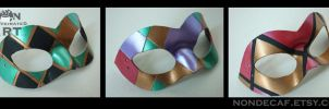 Three Harlequin Domino Masks by nondecaf