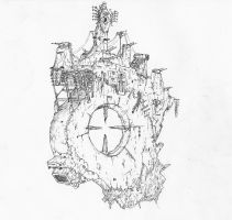 Aerial fortress with excavated cannon by Waffle0708