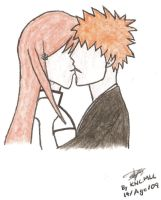 Bleach: IchiHime Kiss Colorful by Kuro-Neko-Chan-MLC