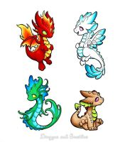 Elemental Dragons by DragonsAndBeasties