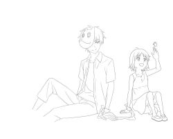 Gin and Hotaru Lineart by NayrusLove16