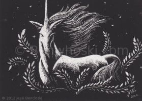 ACEO Scratchboard Unicorn by benwhoski