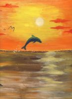 Dophin in a sunset by Chibi-BB