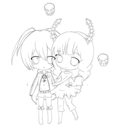 Chibi BRS and DM Line art by Minuet-Melody