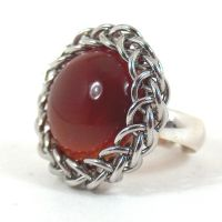 Carnelian Chain Maille Ring by blackbirdmaille