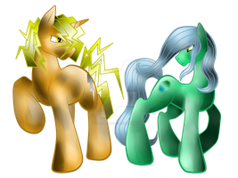 ThunderShine and SeaGleam by AmzyTheChangeling