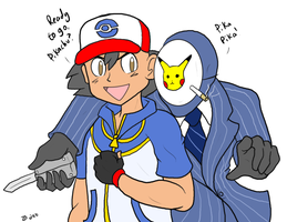 Ash meets the BLU Spy by zp92