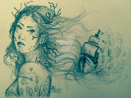 The Mermaid and the Ship by Songes-et-crayons