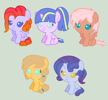 Mane 6 Shipping Adopts (All Sold) by eskimoadopts