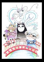 Spirited away funny cats featuring pug by KingZoidLord