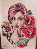 My New School Pin Up girl!! by Frosttattoo