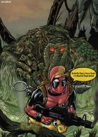 Deadpool vs Man Thing by LiamShalloo