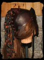 Leather Helmet back view by Lagueuse