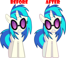 Vinyl Scratch - Before and After by RAGErER