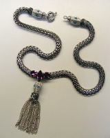 Jeweled Tassel Snake Necklace by BenaeQuee