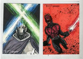 evil sabers cards by TomKellyART