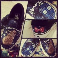 Custom painted Doctor Who shoes by kookookitty