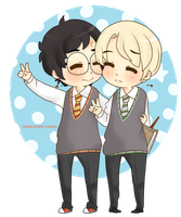 Chibi Drarry - Peace~ by Cremebunny