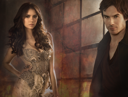 Damon and Elena Wallpaper by Vampiric-Time-Lord