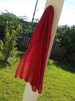 Red Feather and Fan Lace Scarf by MiasmaMoon