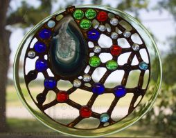Dreamcatcher - Stained glass geode suncatcher by Falconsong