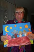 painter with her newest work by ingeline-art