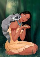 Pocahontas and Meeko by GummyInABox