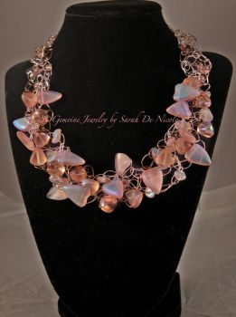 Peachy Pink Crocheted Wire Necklace by ChatNoir13