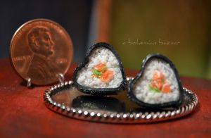 Sushi Heart Earrings by TheMiniatureBazaar