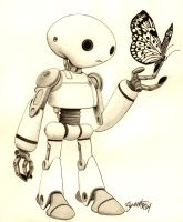 Robot and Butterfly by artistjerrybennett