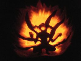 Six Tails Naruto Pumpkin by dragons9rhapsody
