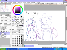 Golden Freddy and Lucy sketch by EllaEllyLove