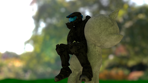Halo Character Sitting on a Pony Statue by Dekanuva