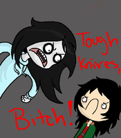 Jeff the killer yells at Kuchisake Onna by akatsuki-girl-4-life