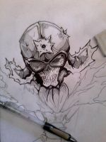 skull drawing by QuirogaArt