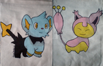 Pokemon Shinx and Skitty Double Sided Dice Bag by cross-academy-crafts