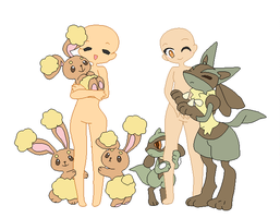 Trainers with pokemon- base by michy123