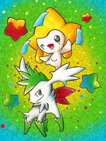 Jirachi and Skymin by KuroBlanc