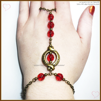 Hand Made Antique Gold Red Slave Ring Bracelet by izka-197