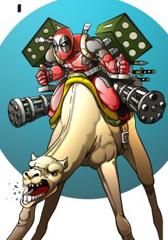 Deadpool on a Camel WiP by xashe