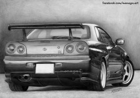 Dat ass! Nissan Skyline GTR R34 by waderra