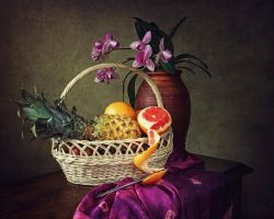Still life with flower and fruit by Daykiney