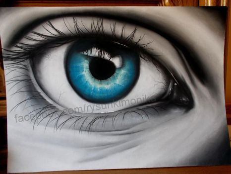 chalk pastel technique eye by mydrawings11
