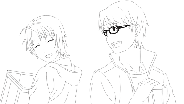 Hachiken and Mikage by gideonapollob