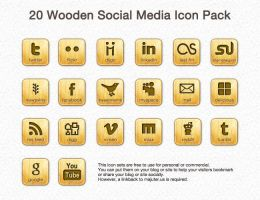 Wooden Social Media Icon Pack by leoaw