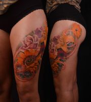 Flowers leg by viptattoo